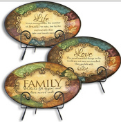Gerson International Ceramic Plates with Metal Stands - Family - Love - Life 3 Plate Combo