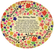 Natural Life Melamine Flowers Giving Plate, Red