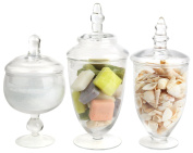 Mantello Glass Apothecary Jars Clear Small, Set of 3