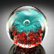 Teal Explosion Paperweight Glass Sphere 13cm