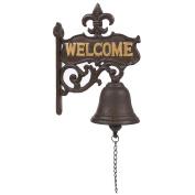 """Cast Iron Bell - """"Welcome"""" Entry Door Bell, Antique Doorbell for Decoration, Front Door, Interior, Exterior Decor, Black - 6.7 x 23cm x 2cm"""