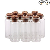 Swity Home 60 Pack Glass 5.1cm 10 ml Decorative Bottles for Arts & Crafts, Projects, Set of 60
