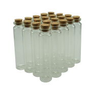 25ml Small Mini Glass Bottles Sample Jars with Cork Stoppers for Art Crafts 2.2cm Diameter x 9.4cm Tall, Pack of 20 by Shxstore
