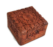 Christmas Thanksgiving Gifts - StarZebra Jewellery Box Novelty Item, Unique Artisan Traditional Hand Carved Rosewood Jewellery Box From India - Beautiful Gift Inside