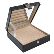 Ring Box Organiser - 54 Slot Classic Jewellery Display Case Holder - Storage Tray with Modern Buckle Closure, Large Mirror - Holds Rings and Cufflinks - Small for Travel - PU Leather - Black