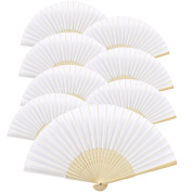 Metable 8pcs Folding Fan White Silk Bamboo Handheld Folded Fan Bridal Dancing Props Church Wedding Gift Party Favours Home Office DIY Decor