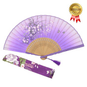 """OMyTea """"Grassflowers"""" 8.27""""(21cm) Hand Held Folding Fans - With a Fabric Sleeve for Protection for Gifts - Chinese / Japanese Vintage Retro Style"""