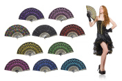 """OMyTea """"Peacock"""" Folding Hand Held Fans Bulk for Women - Spanish / Chinese / Japanese Vintage Retro Fabric Fans for Wedding, Church, Party, Gifts"""