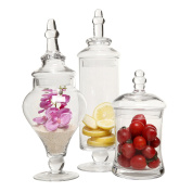 Designer Clear Glass Apothecary Jars (3 Piece Set) Decorative Weddings Candy Buffet - MyGift