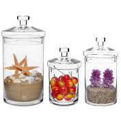 Set of 3 Clear Glass Kitchen & Bath Storage Canisters / Decorative Centrepiece Apothecary Jars with Lids