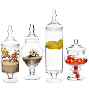 (Set of 4) Large Classic Clear Glass Lid Apothecary Jars / Candy Buffet / Wedding Centrepiece - MyGift Home