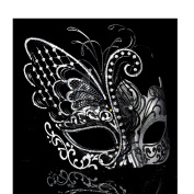 [Flying Butterfly] Silver/Black Face with [Sparkling Wing] Laser Cut Metal Venetian Women Mask For Masquerade / Party / Ball Prom / Mardi Gras / Wedding / Wall Decoration