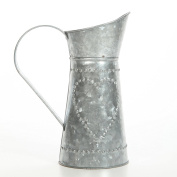 Hosley's 23cm High Galvanised Decorative Pitcher. Ideal for Country, Garden decor