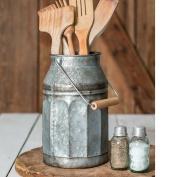 Vintage Galvanised Metal-Decorative Milk Pail w/ Wood Handle