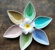 Astra Gourmet Set of 6 Multipurpose Mini Ceramic Seasoning Dishes/Appetiser Plates/ Multicolor Leaf Shape Porcelain Saucers Dipping Bowls Set for Vinegar/Soy Sauce/Wasabi