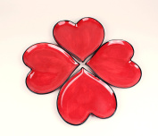 Happy Hearts Red Plates Set of 4