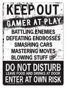 KEEP OUT Gamer At Play ENTER At Own Risk Funny Novelty Tin Sign by kalan