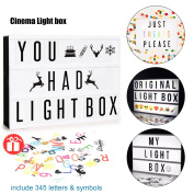 Mini LED Cinema Light Box - Doingart Cinematic Light Box, include 345 Changeable Letters with Emoji, Symbols and Numbers DIY Marquee Signs for Home and Wedding Decor