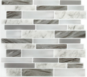 Peel & Impress 29cm x 25cm Marble Grey Oblong Self Adhesive Backsplash Tile