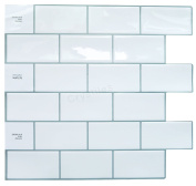 """Crystiles Peel and Stick Self-Adhesive DIY Backsplash Stick-on Vinyl Wall Tiles for Kitchen and Bathroom Décor Projects, Subway White, Item# 91010838, 10"""" X 10"""" Each, 4 Sheets Pack"""