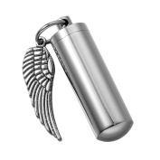 HooAMI Angel Wing Cylinder Cremation Urn Necklace / Keychain Keepsake Ashes Pendant Memorial Jewellery