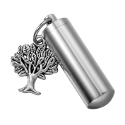 HooAMI Tree of Life Cylinder Cremation Urn Necklace / Keychain Keepsake Ashes Pendant Memorial Jewellery