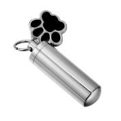 HooAMI Pet Puppy Dog Paw Cylinder Cremation Urn Necklace / Keychain Keepsake Ashes Pendant Memorial Jewellery