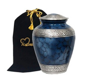 Memorials4u Elite Cloud Blue and Silver Cremation Urn for Human Ashes - Adult Funeral Urn Handcrafted - Affordable Urn for Ashes - Large Urn Deal.
