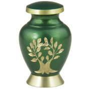 Mini Keepsake Funeral Urn- Brass Cremation Urns for Human Ashes Adult or Infant / Pet - Hand Engraved - Fits a Small Amount of Cremated Remains-Display Burial Urn at Home or Office (Aria Tree OF Life