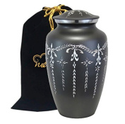 Large Fancy Flourish Cremation Urn for Human Ashes - Diamond Cut Slate Urn- Handcrafted Affordable Urn for Ashes - Adult Urn with free bag