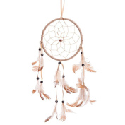 38cm Traditional Beige Dream Catcher with Feathers Wall or Car Hanging Ornament Single Circle