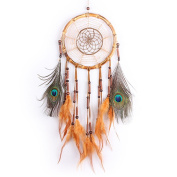 IEVE Dream Catcher -Bamboo and Peacock Feathers Decorations for Car Bedroom-Diameter 18cm Length 60cm - 70cm