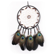 Dream Catcher for Kids, Handmade Peacock Feathers Decorations for Home Party - Diameter 20cm Length 40cm - 45cm