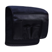 BCP Black Colour Velvet Sofa Couch Chair Armrest Soft Caddy Organiser Holder for Remote Control, Cell Phone, Book, Pencil