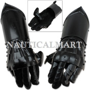 Undead Mediaeval Conquest Armour Gauntlets of Dexterity Night Warrior Black - 18G Functional Carbon Steel By Nauticalmart