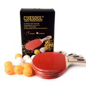 CUESOUL Table Tennis Set -4 Paddles/Rackets and 12 Table Tennis Balls-4 players Table Tennis Set
