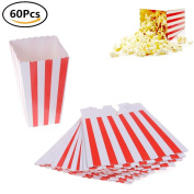 60Pcs Popcorn Boxes Red and White Striped Cardboard Candy Container for Carnival Party Movie and Birthday Party Supplies