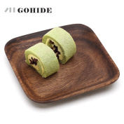 A Square Natural Wood Plates Japanese Cake Tray Wooden Tableware Household Kitchen Utensils Dessert Dishes Serving Plates