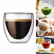 HUPLUE Double Wall Glass Cup Beverage Glasses Coffee Mug ,Artisan Transparent Milk Tea Beer Glass Mug Cups,80 ML , 1Pack