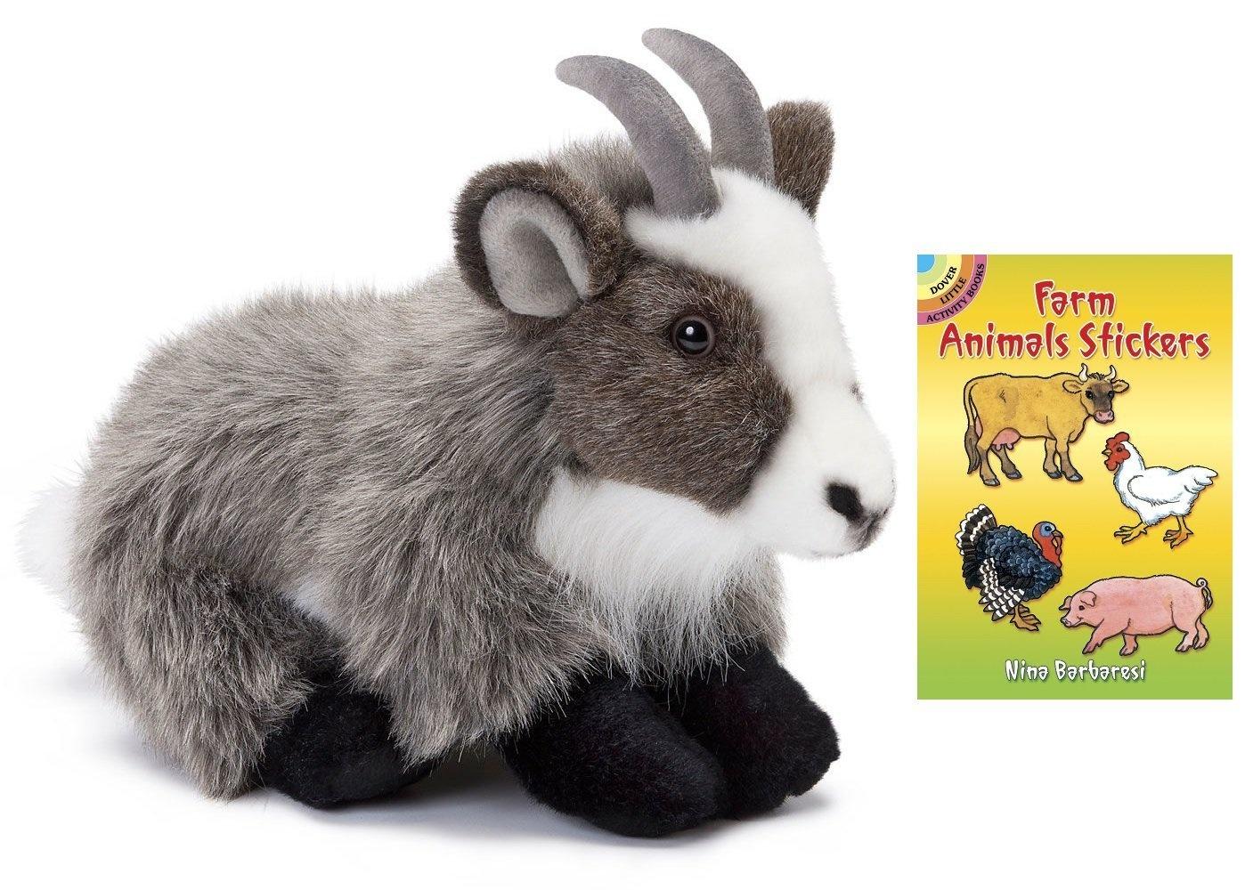 Nat & Jules Goat Large 29cm Plush Animal with Farm Animals Stickers