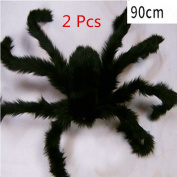 ASIBT 2 Pcs New 90cm Large Black Realistic Fake Spider Plush Puppet Prank Jokes Toy Halloween Party Decorations Props