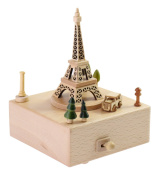 """Delightful Quality Wooden Musical Box Featuring Iconic Eiffel Tower with Small Moving Magnetic Car 