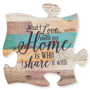 What I Love about Home is Who I share it With Multicolor 12 x 12 Wood Wall Art Puzzle Piece