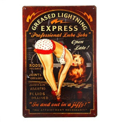 """T-ray Greased Lightning Pin Up Girl Sign this """"Professional Lube Jobs"""" pin up girl sign is a great garage or man cave sign"""