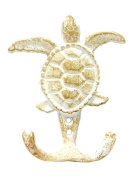 Cast Iron Sea Turtle Double Wall Hook - Whitewash Finish - 9.5cm
