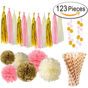 Paxcoo 123 Pcs Pink and Gold Baby Shower Decorations for Girls Baby