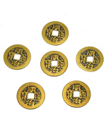 "6pcs/set Brass Chinese Feng Shui I Ching Divination Coins For Success Dia 1.1"" W Fengshuisale Bag Y-1055"