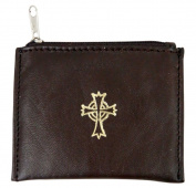 Genuine Leather Lined Rosary Case with Celtic Cross Crucifix, Brown, 9.5cm