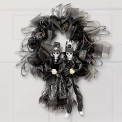 Halloween Skeleton Couple Wreath
