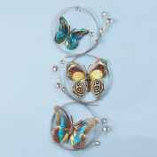 Metal Butterfly In Circles Wall Art